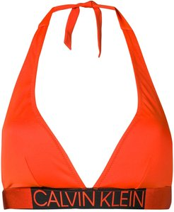 logo waistband bikini top - ORANGE