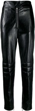 leather look trousers - Black