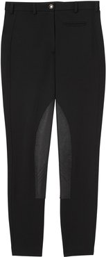 Lambskin Panel Stretch Crepe Jersey Trousers - Black