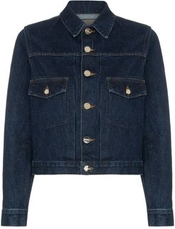 The Pleat cropped denim jacket - Blue