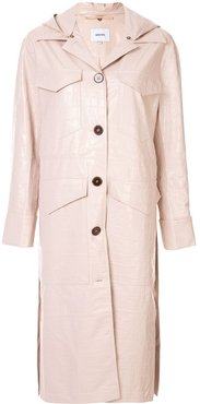 hooded duster coat - PINK