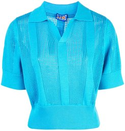 perforated polo shirt - Blue