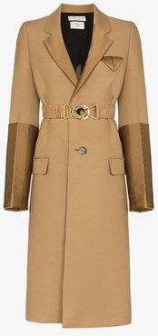 contrast panel single-breasted coat