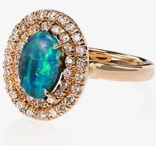 18K gold diamond and opal ring