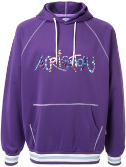embroidered logo hoodie - PURPLE