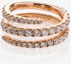 18K rose gold and diamond coil ring