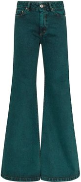 faded-effect flared jeans - Green
