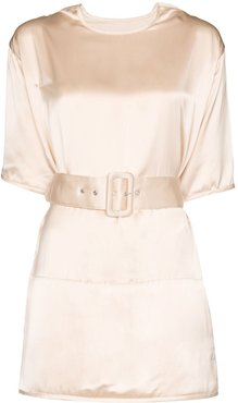 belted satin blouse - PINK