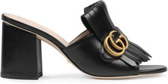 Leather mid-heel slide with Double G - Black