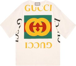 oversized T-shirt with Gucci logo - Neutrals