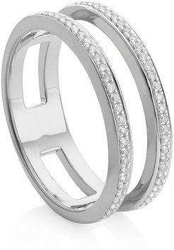 Skinny Double Band Diamond ring - SILVER