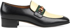 Leather moccasin with GG - Black