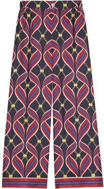 Web-print wide-leg trousers - Red