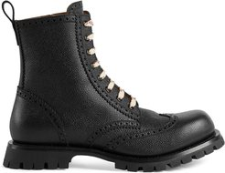 Leather brogue lace up boot - Black