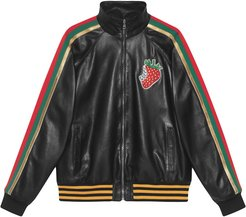 Leather bomber jacket with Gucci Strawberry - Black