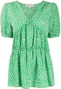 Butterfly print blouse - Green