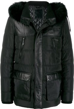 padded hooded jacket - Black