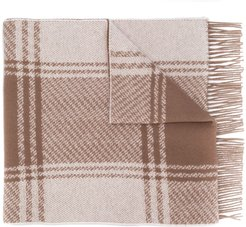White & Brown Cashmere Blend Scarf | ACC-020