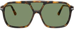 square oversized sunglasses - Green