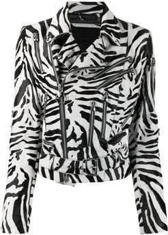 Statement zebra print biker jacket - Black