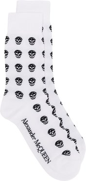 multi skull knit socks - White