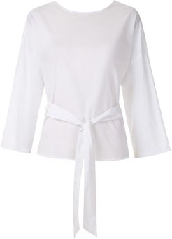 belted wrap blouse - White