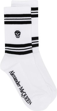 skull knitted socks - White