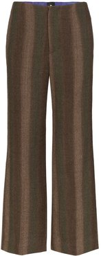 striped wool trousers - Green