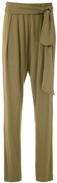 drape tapered trousers - Brown