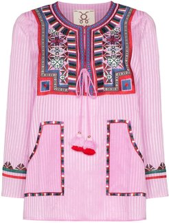 Lily embroidered stripe top - PINK