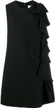 ruffle detail shift dress - Black