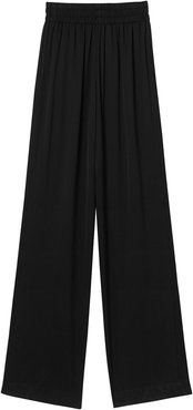Silk Satin Trousers - Black
