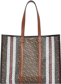 Monogram Stripe E-canvas Tote Bag - Brown