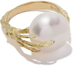 18kt gold claw pearl ring - YELLOW GOLD