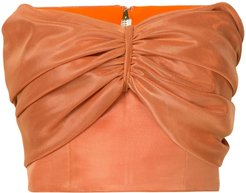 cropped strapless top - ORANGE