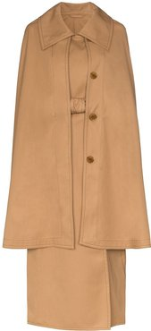 cape belted trench coat - Brown