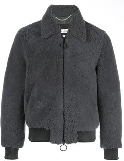 shearling bomber jacket - Grey