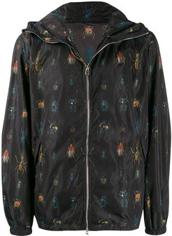 insect print hooded jacket - Black