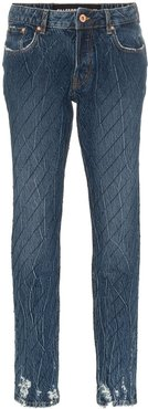 crystal-embellished slim jeans - Blue