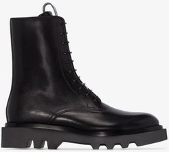 black Combat lace-up leather ankle boots