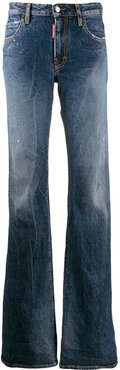 distressed faded flared jeans - Blue