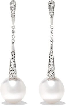 18kt white gold Trend diamond and pearl drop earrings - 7