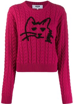 cable knit cat sweater - PINK