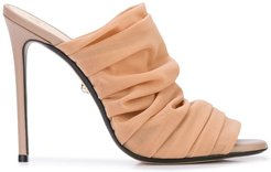 draped front mules - Brown