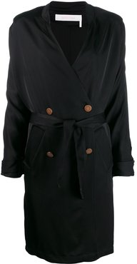 double breasted wrap coat - Black