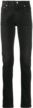 embroidered signature slim-fit jeans - Black