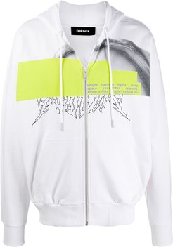 Zip-up hoodie with censored photo print - White