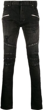slim-fit biker jeans - Black