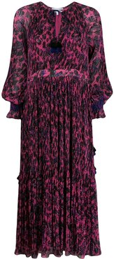 Nemea Pleated Speckled Floral Maxi Dress with Smocking Detail - PINK