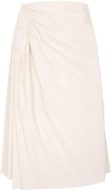 pleated faux leather midi skirt - White